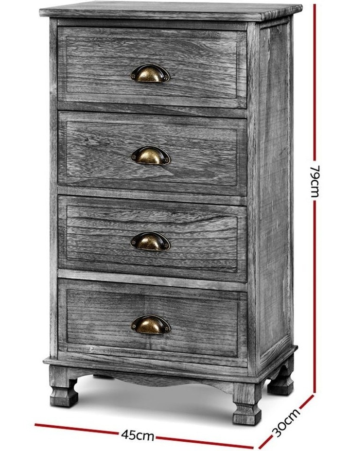Bedside Tables Drawers Cabinet Vintage 4 Chest of Drawers image 2