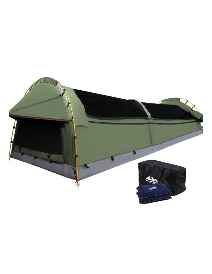 Double Swag Camping Swags Canvas Tent Deluxe Aluminium Poles & Bag Vacation image 1