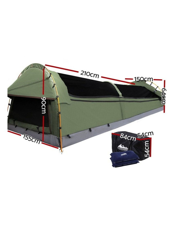 Double Swag Camping Swags Canvas Tent Deluxe Aluminium Poles & Bag Vacation image 2