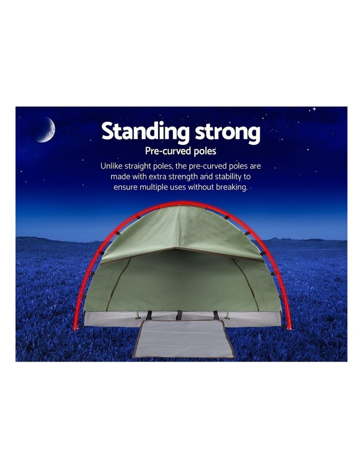 Double Swag Camping Swags Canvas Tent Deluxe Aluminium Poles & Bag Vacation image 4