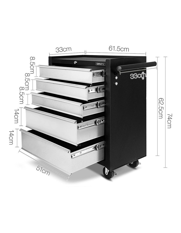 5 Drawer Mechanic Tool Box Storage Trolley image 2