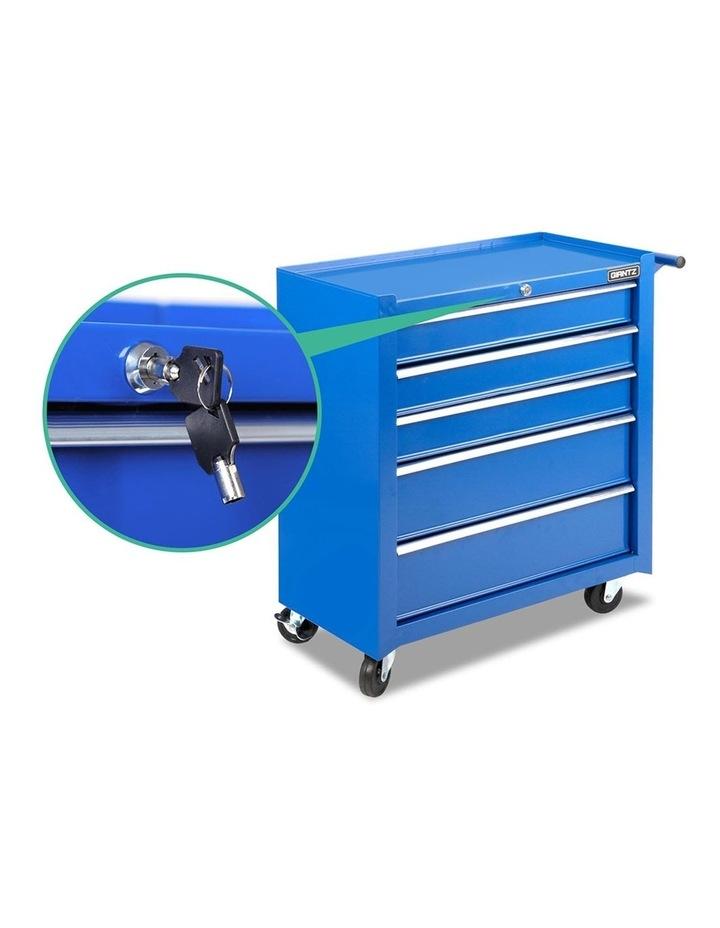 5 Drawer Mechanic Tool Box Storage Trolley - Blue image 4