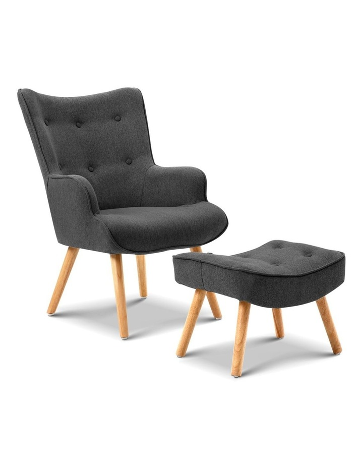 Artiss Accent Armchair and Ottoman - Charcoal image 1