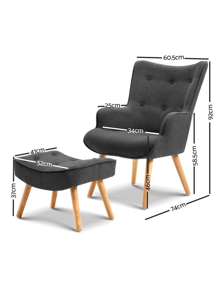 Artiss Accent Armchair and Ottoman - Charcoal image 2