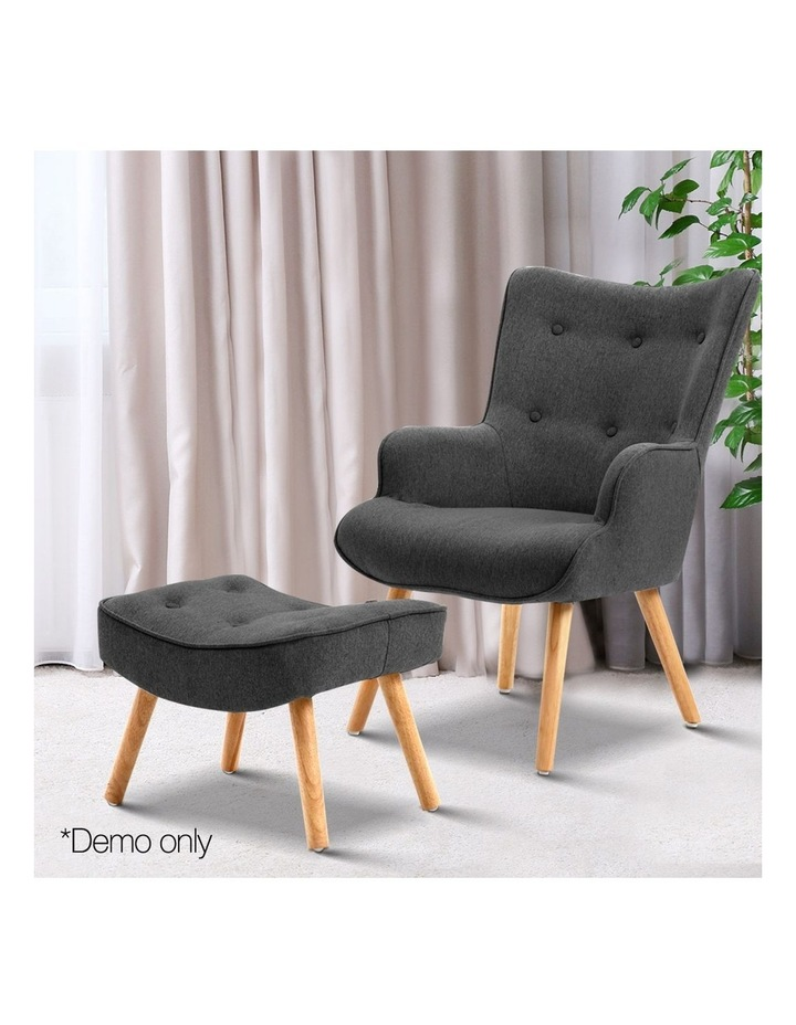 Artiss Accent Armchair and Ottoman - Charcoal image 3