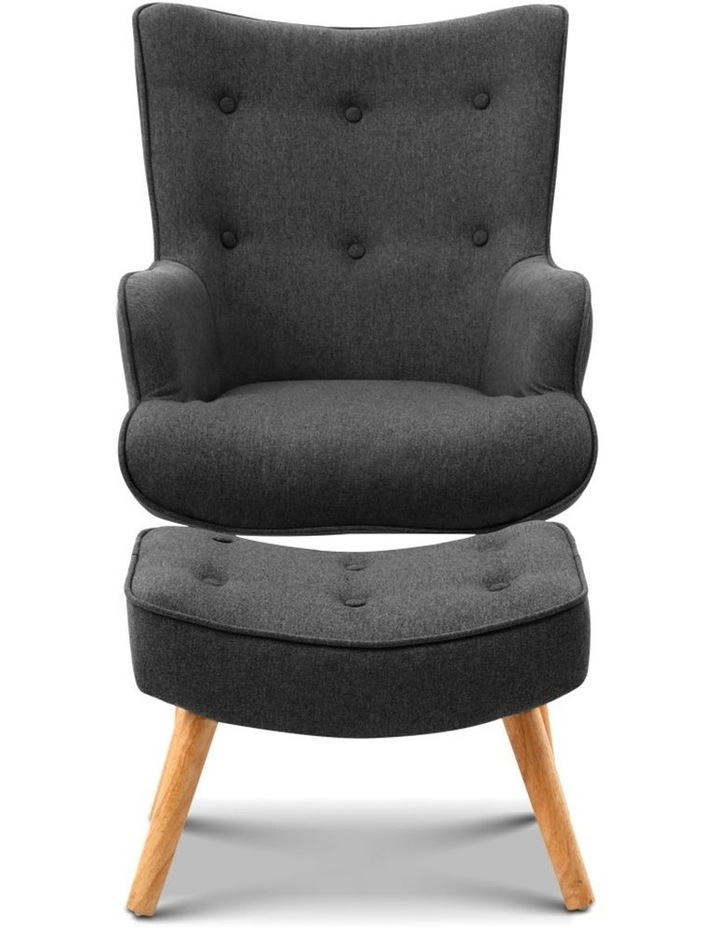 Artiss Accent Armchair and Ottoman - Charcoal image 4