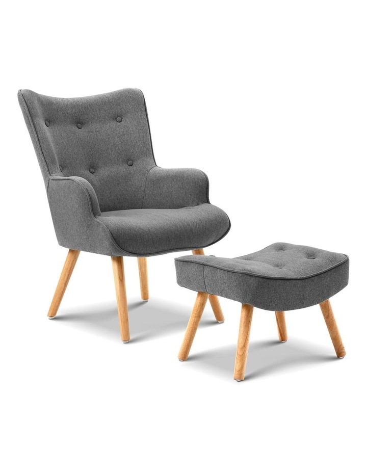 Artiss Armchair and Ottoman - Grey image 1