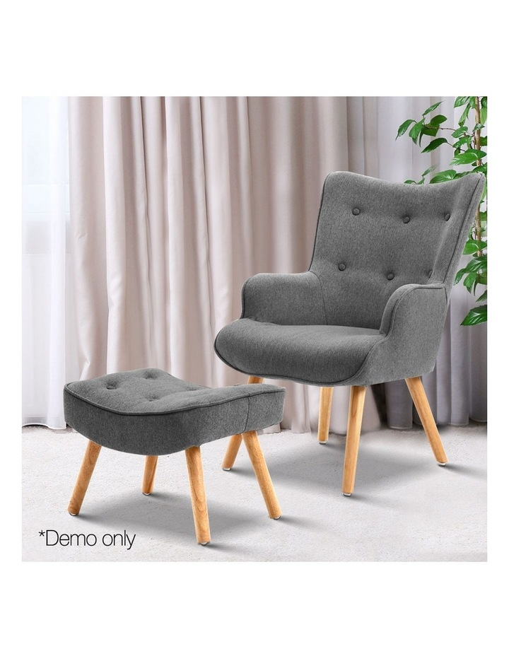 Artiss Armchair and Ottoman - Grey image 3