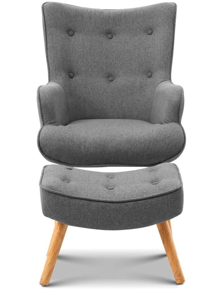 Artiss Armchair and Ottoman - Grey image 4