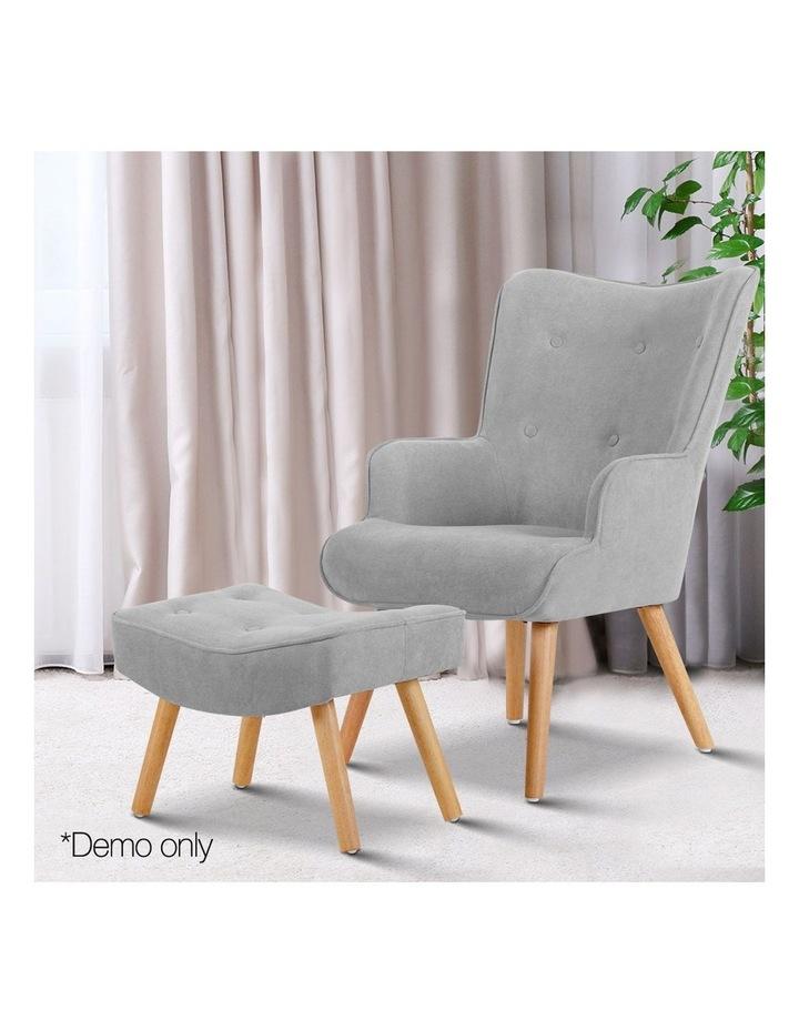 Artiss Armchair and Ottoman - Light Grey image 3