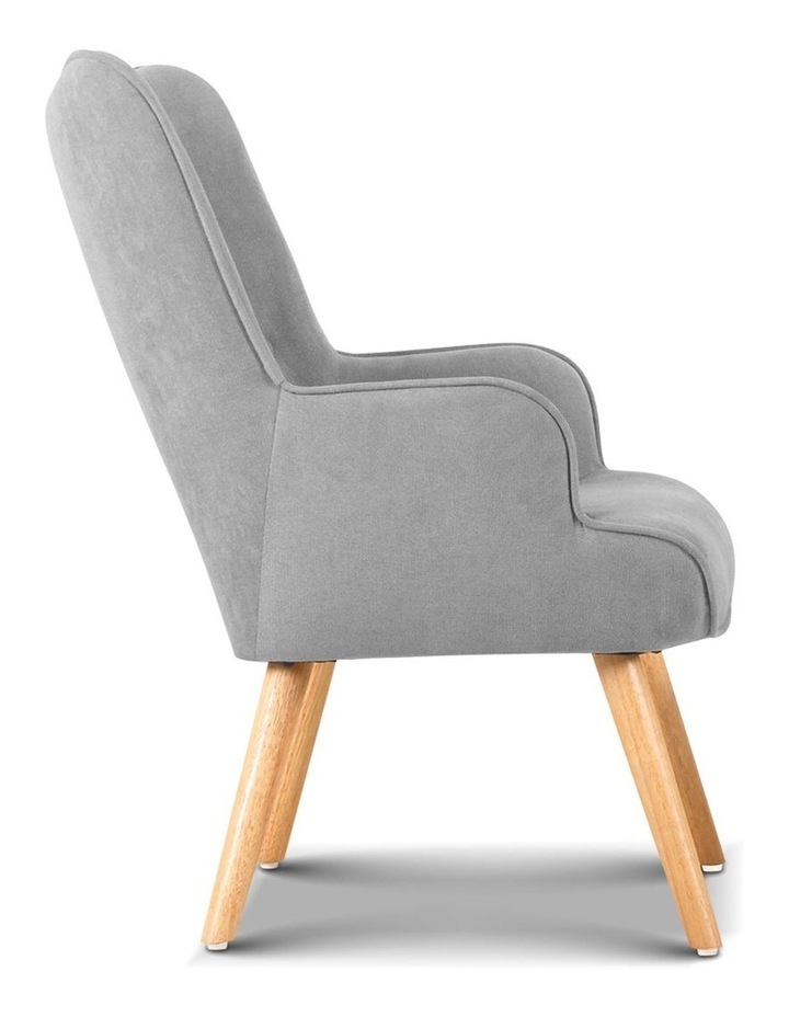 Artiss Armchair and Ottoman - Light Grey image 5