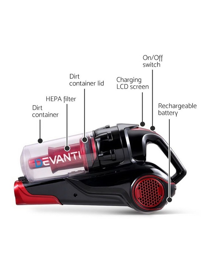 Cordless Handstick Vacuum Cleaner - Black and Red image 5