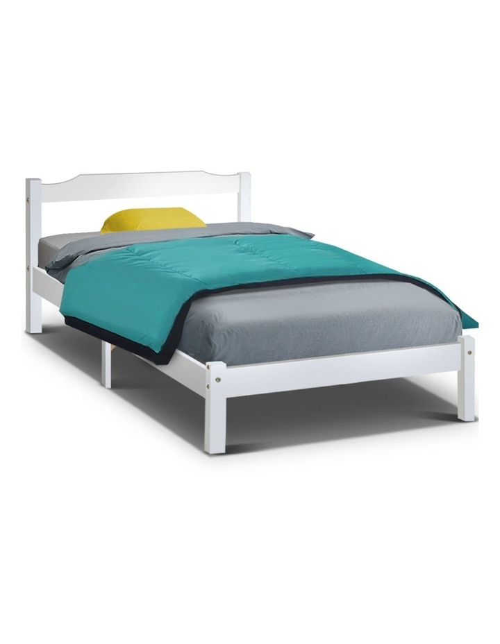 King Single Size Wooden Bed Frame - White image 1