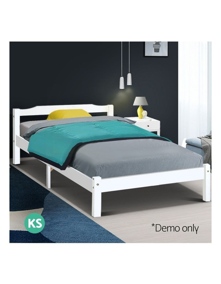 King Single Size Wooden Bed Frame - White image 3