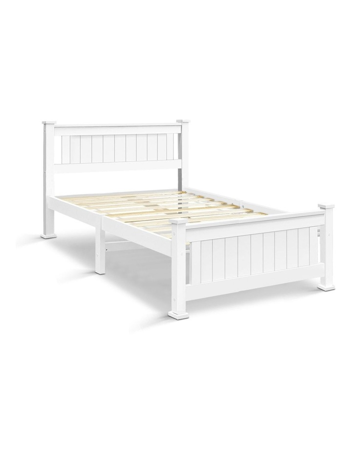 King Single Wooden Bed Frame - White image 1