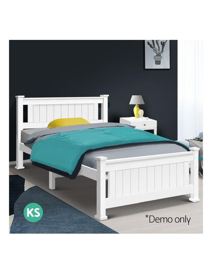King Single Wooden Bed Frame - White image 3
