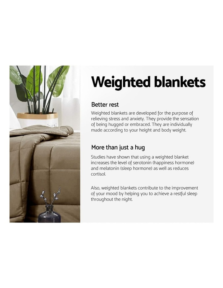 Cotton Weighted Blanket Heavy Gravity Deep Relax Sleep Adult 5KG Brown image 4