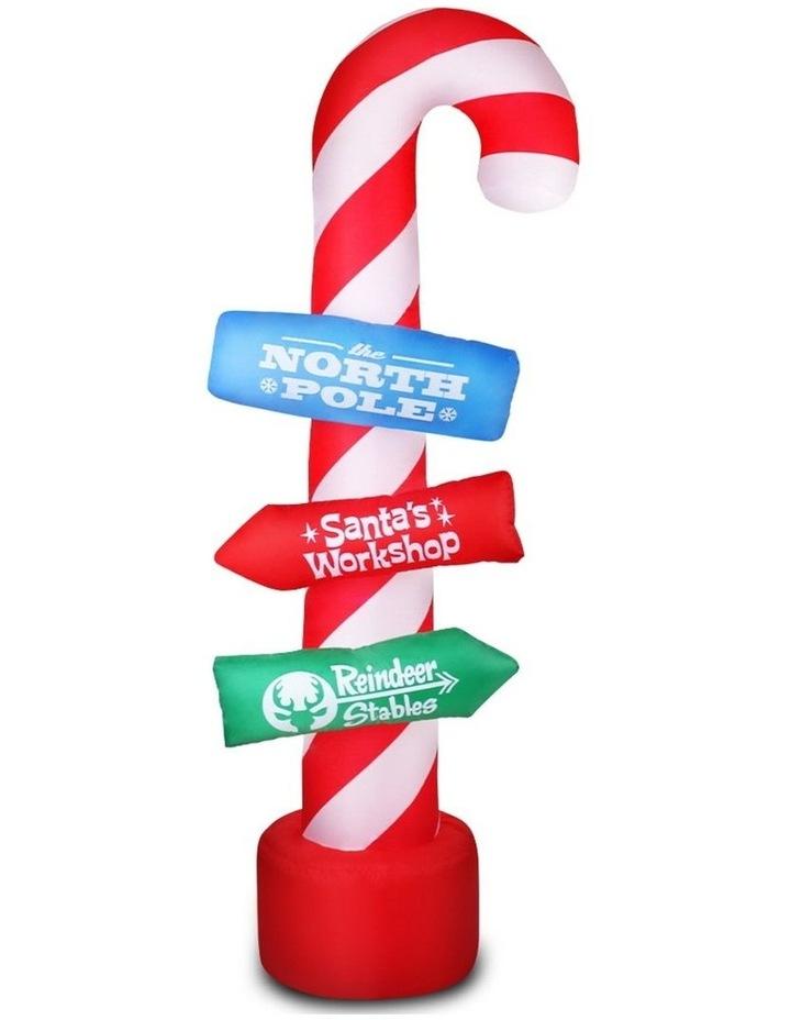 Jingle Jollys 2.4M Christmas Inflatable Santa Guide Candy Pole Xmas Decor LED image 1