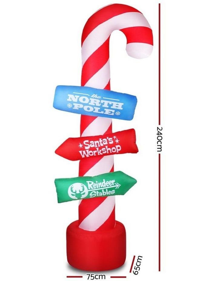 Jingle Jollys 2.4M Christmas Inflatable Santa Guide Candy Pole Xmas Decor LED image 2