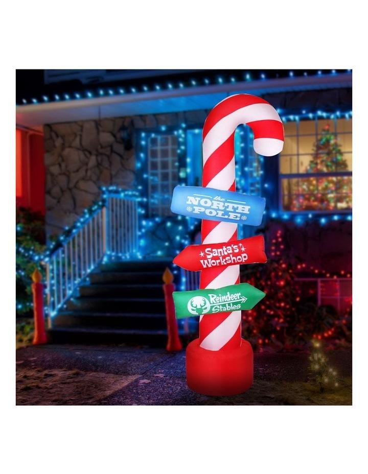 Jingle Jollys 2.4M Christmas Inflatable Santa Guide Candy Pole Xmas Decor LED image 3