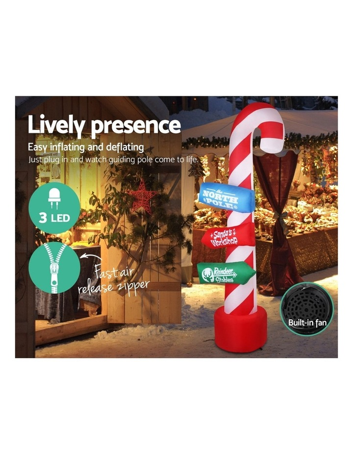 Jingle Jollys 2.4M Christmas Inflatable Santa Guide Candy Pole Xmas Decor LED image 5