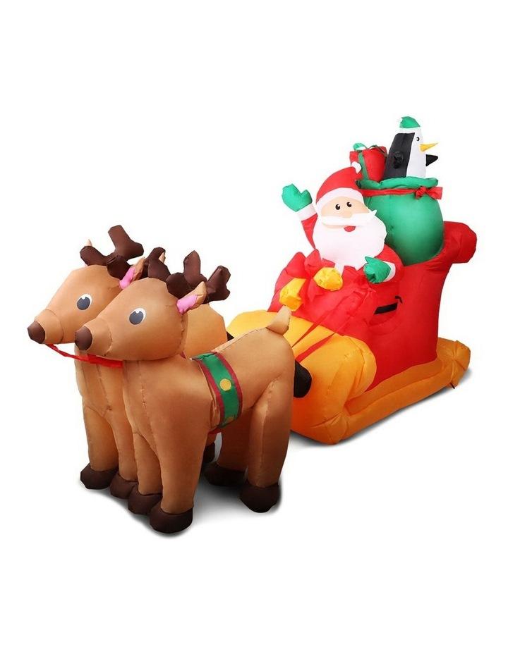 Jingle Jollys 2.2M Christmas Inflatable Santa Sleigh Ride Reindeer Deer Decor image 1