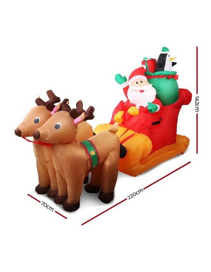 Jingle Jollys 2.2M Christmas Inflatable Santa Sleigh Ride Reindeer Deer Decor image 2