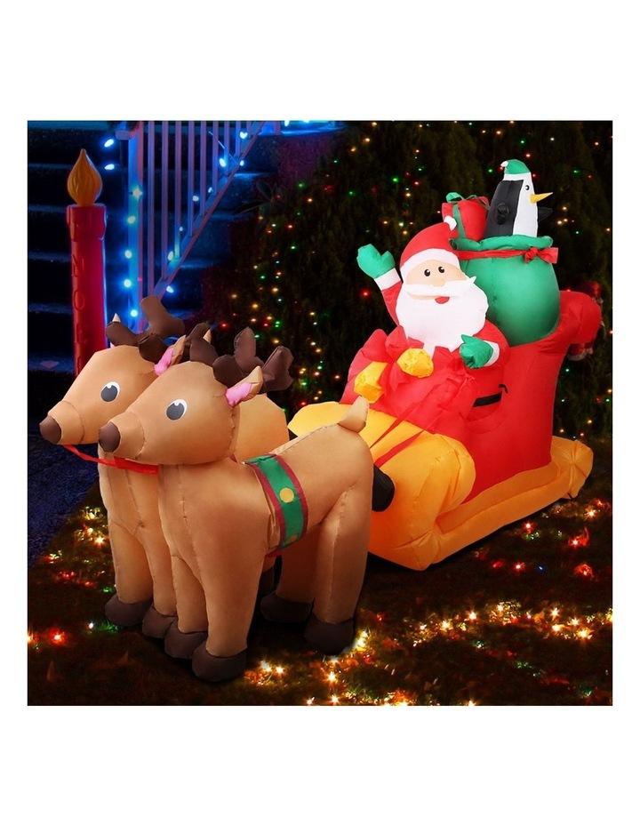 Jingle Jollys 2.2M Christmas Inflatable Santa Sleigh Ride Reindeer Deer Decor image 3