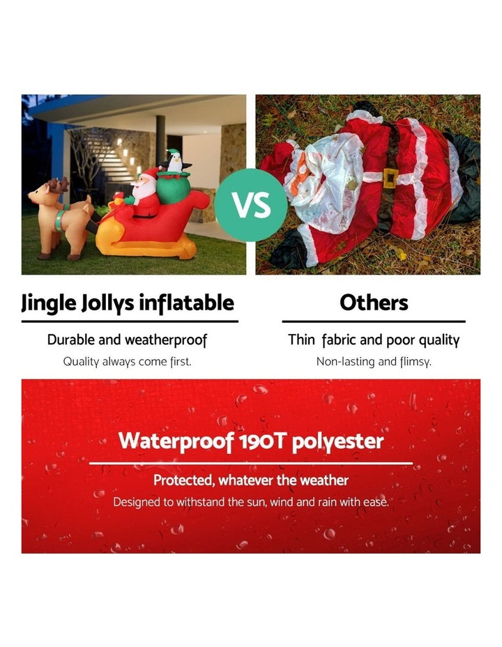 Jingle Jollys 2.2M Christmas Inflatable Santa Sleigh Ride Reindeer Deer Decor image 4