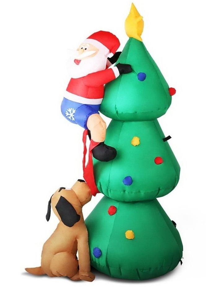 Jingle Jollys 1.8M Christmas Inflatable Santa on Tree Lights Xmas Decor Airblown image 1