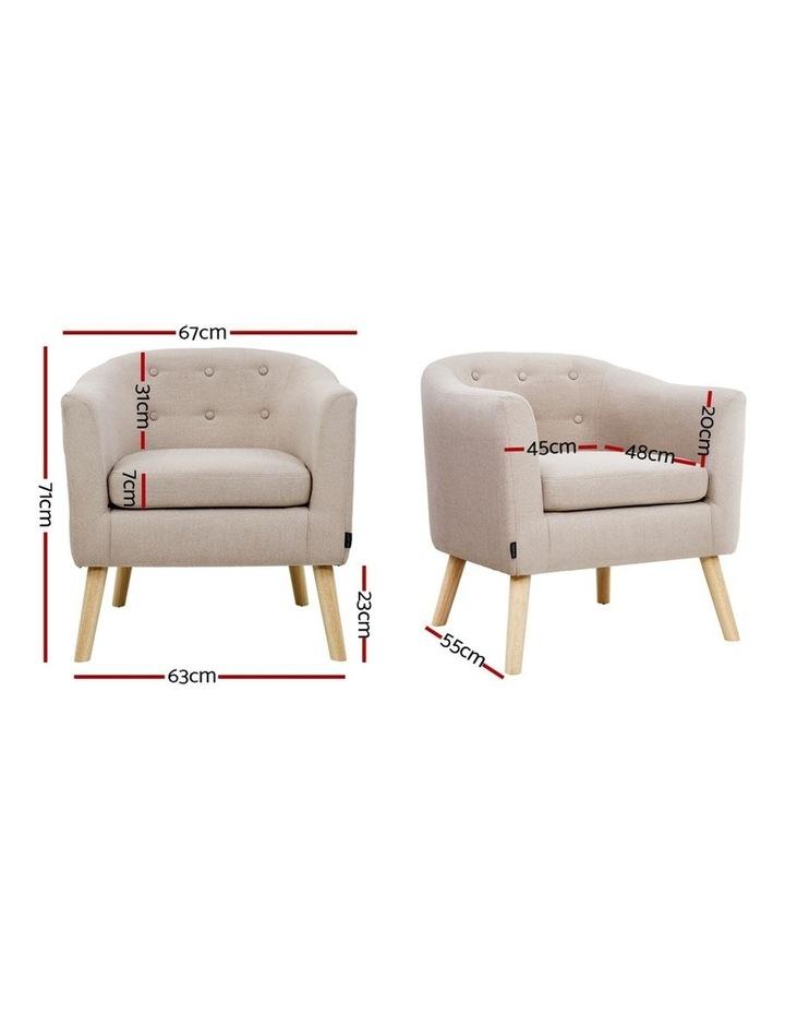 ADORA Armchair Tub Chair Single Accent Armchairs Sofa Lounge Fabric Beige image 2