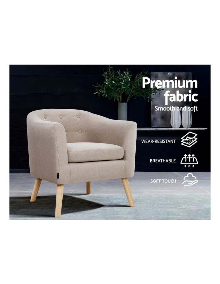 ADORA Armchair Tub Chair Single Accent Armchairs Sofa Lounge Fabric Beige image 4