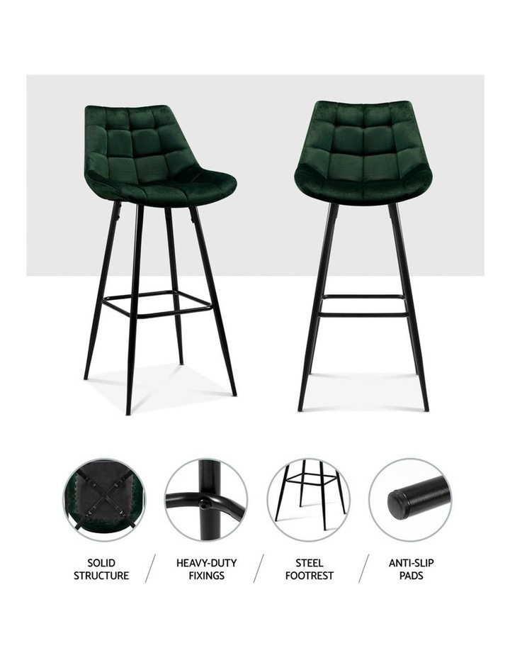 Kitchen Bar Stools Velvet Bar Stool Counter Chairs Metal Barstools Green image 3