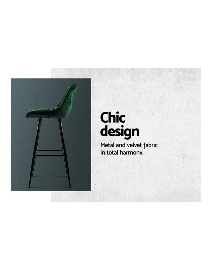 Kitchen Bar Stools Velvet Bar Stool Counter Chairs Metal Barstools Green image 5