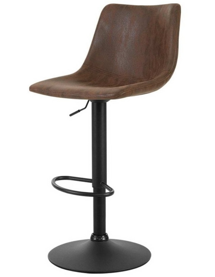 2x Kitchen Bar Stools Gas Lift Bar Stool Chairs Swivel Vintage Leather Brown Black Coated Legs image 1