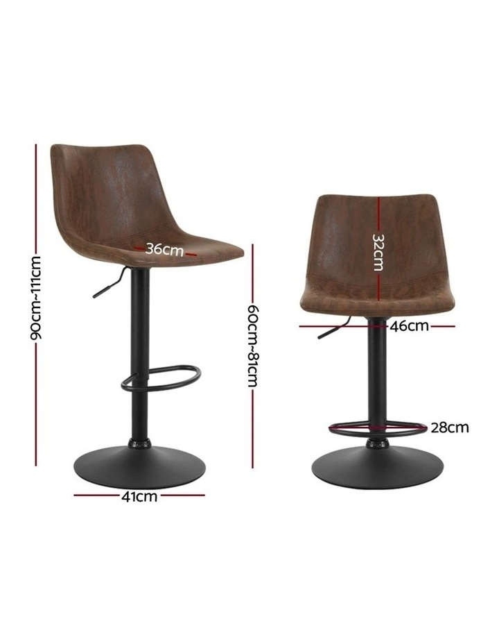 2x Kitchen Bar Stools Gas Lift Bar Stool Chairs Swivel Vintage Leather Brown Black Coated Legs image 2