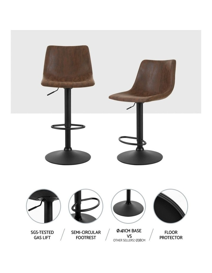2x Kitchen Bar Stools Gas Lift Bar Stool Chairs Swivel Vintage Leather Brown Black Coated Legs image 3