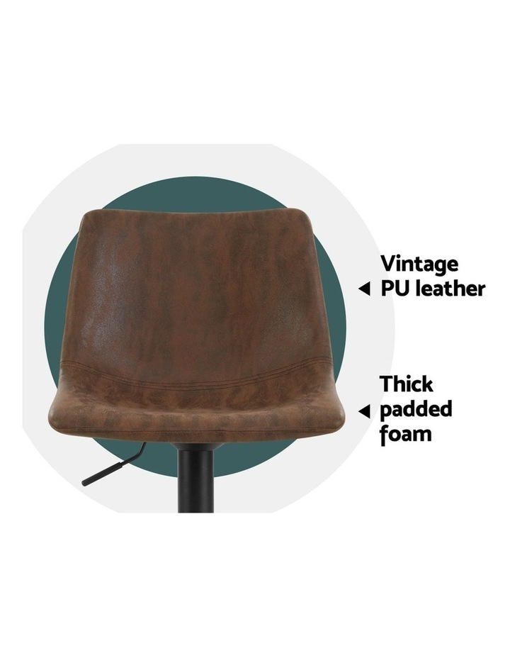 2x Kitchen Bar Stools Gas Lift Bar Stool Chairs Swivel Vintage Leather Brown Black Coated Legs image 4
