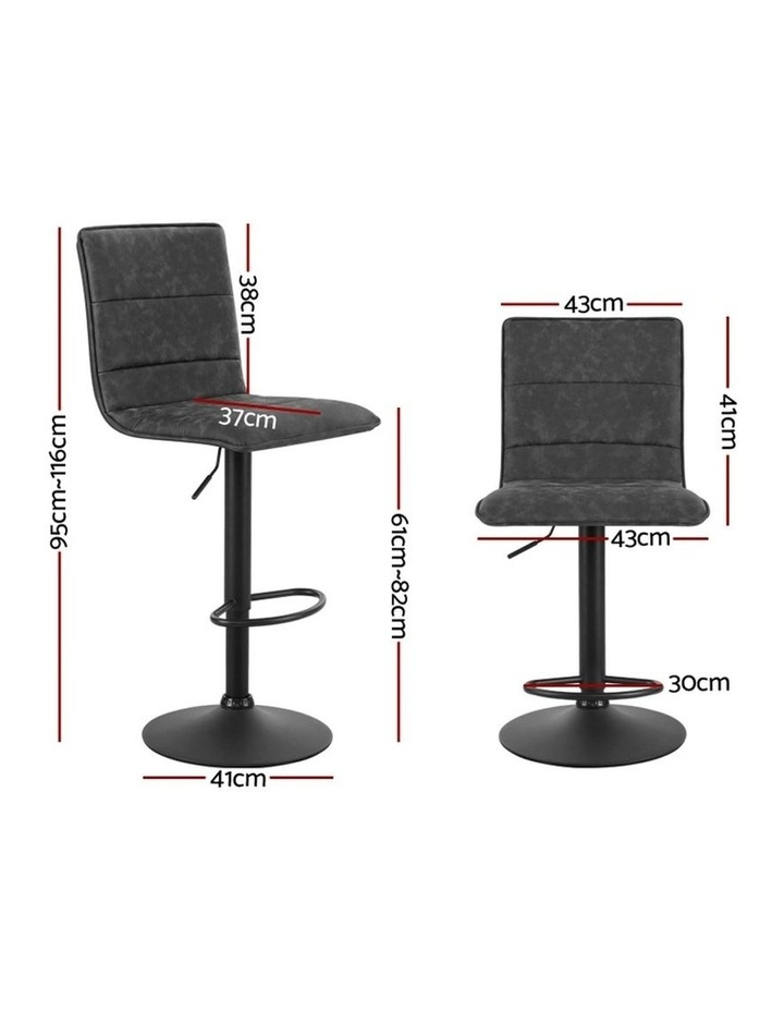 2x Kitchen Bar Stools Gas Lift Bar Stool Chairs Swivel Vintage Leather Grey Black Coated Legs image 2