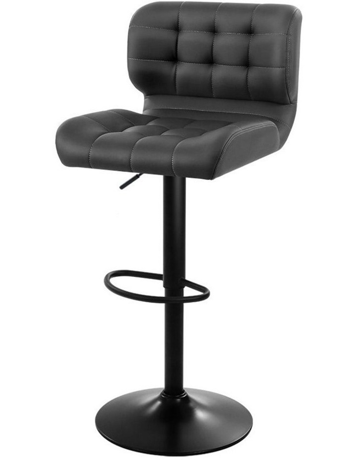2x Kitchen Bar Stools Gas Lift Bar Stool Chairs Swivel Leather Black Grey image 1