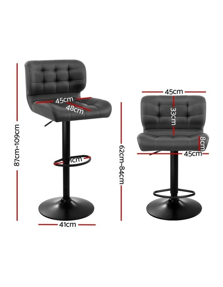 2x Kitchen Bar Stools Gas Lift Bar Stool Chairs Swivel Leather Black Grey image 2