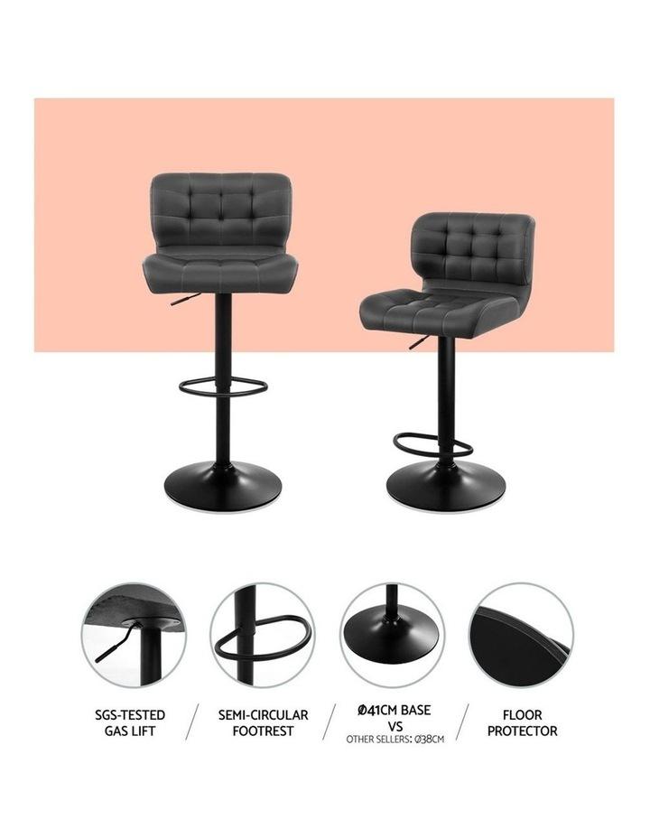 2x Kitchen Bar Stools Gas Lift Bar Stool Chairs Swivel Leather Black Grey image 3
