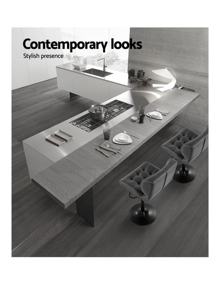 2x Kitchen Bar Stools Gas Lift Bar Stool Chairs Swivel Leather Black Grey image 4