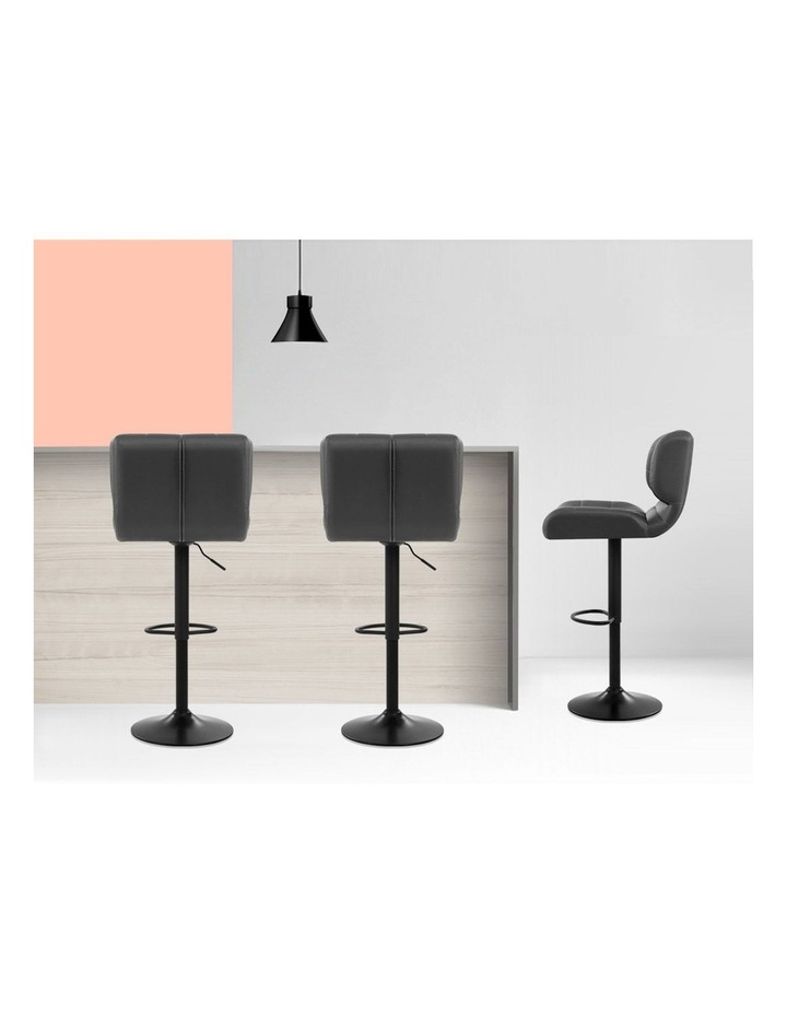 2x Kitchen Bar Stools Gas Lift Bar Stool Chairs Swivel Leather Black Grey image 5