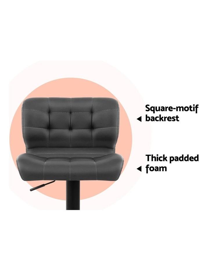 2x Kitchen Bar Stools Gas Lift Bar Stool Chairs Swivel Leather Black Grey image 6