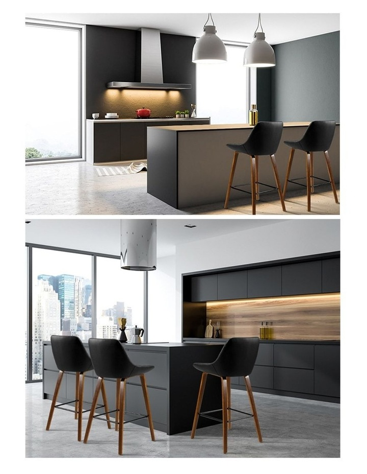 Artiss 2x Kitchen Bar Stools Wooden Stool Chairs Bentwood Barstool Leather Black Myer