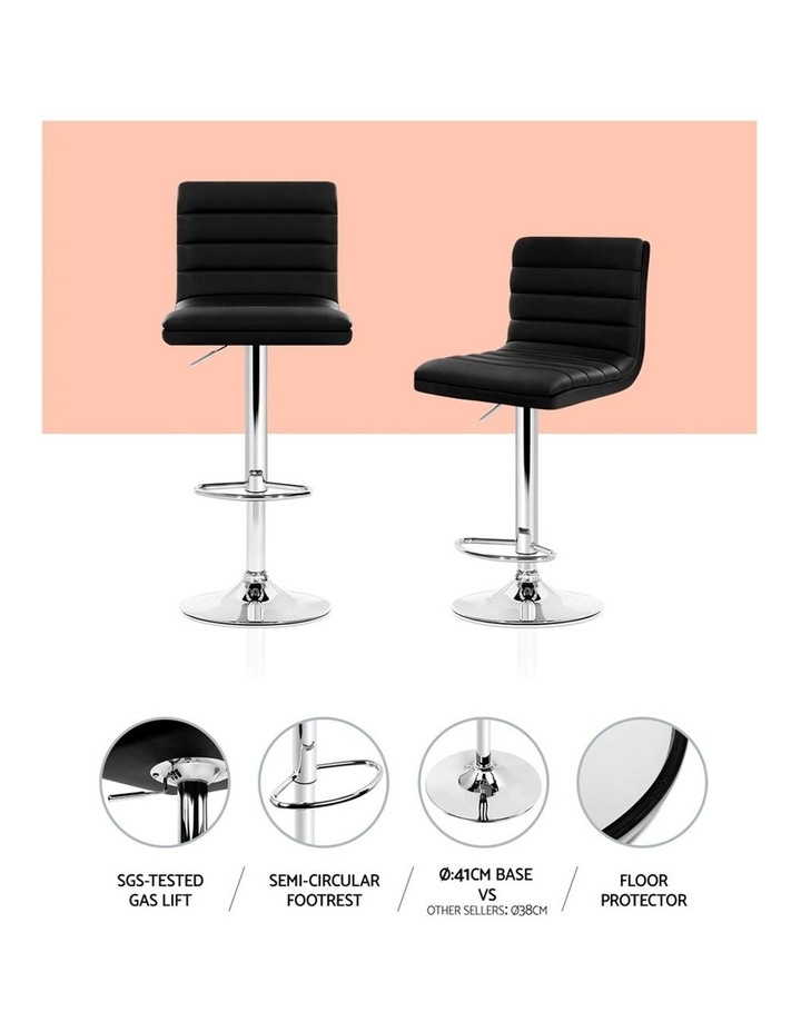 2x Leather Bar Stools ARNE Swivel Bar Stool Kitchen Chairs Black Gas Lift image 3