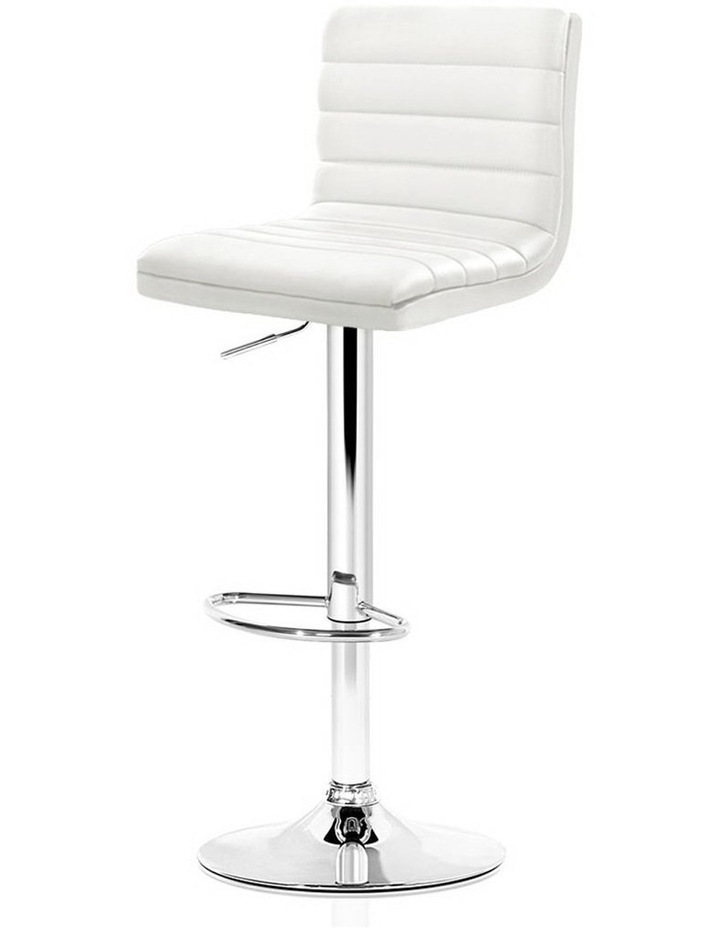 2x Leather Bar Stools ARNE Swivel Bar Stool Kitchen Chairs White Gas Lift image 1