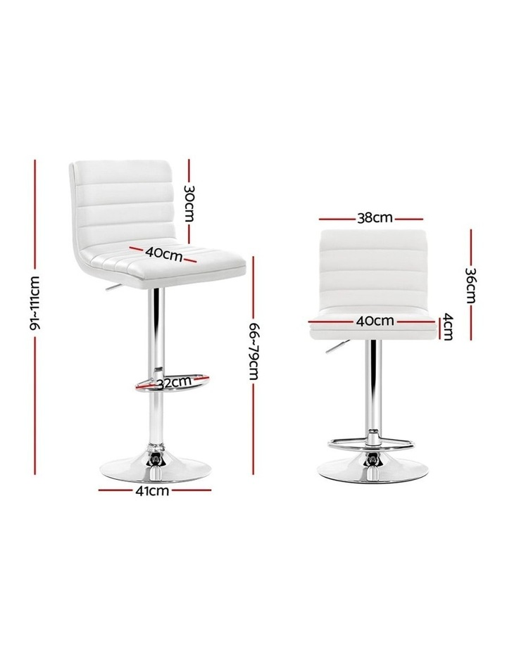 2x Leather Bar Stools ARNE Swivel Bar Stool Kitchen Chairs White Gas Lift image 2