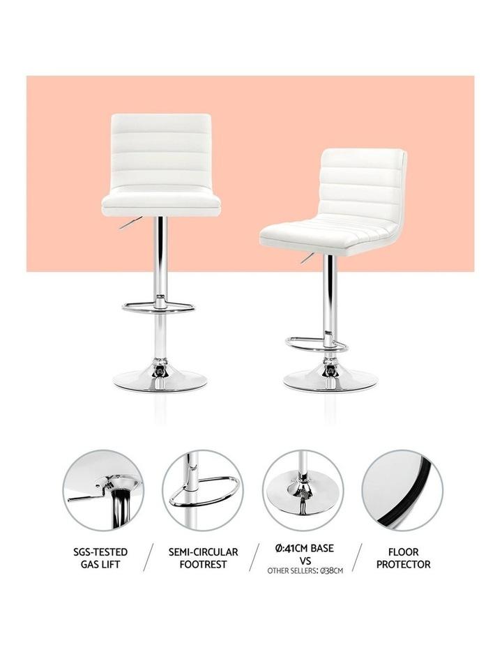 2x Leather Bar Stools ARNE Swivel Bar Stool Kitchen Chairs White Gas Lift image 3